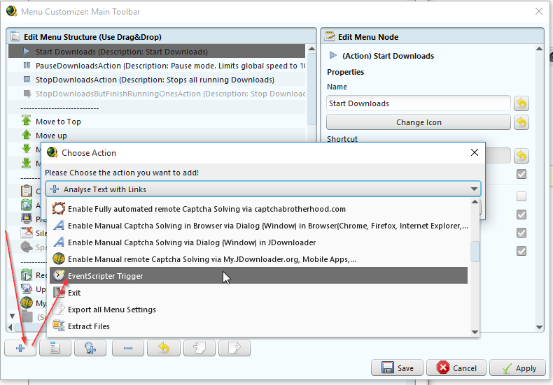 Add custom Buttons and Scripts to JDownloader - Powered by